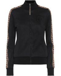 Fendi Felpa in jersey con zip - Nero