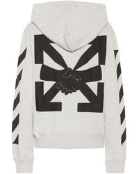 Off-White c/o Virgil Abloh Agreement Cotton Jersey Hoodie - Grey