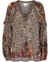 Camilla Embellished Leopard-print Silk Blouse - Multicolour