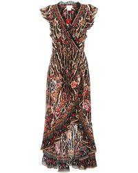 Camilla Printed Silk Wrap Dress - Multicolour