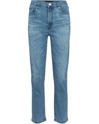 J Brand High-Rise Straight Jeans Alma - Blau