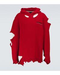 Balenciaga Hoodie Destroyed aus Baumwolle - Rot