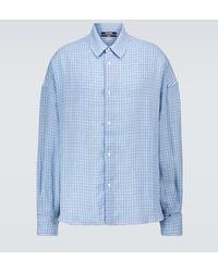Jacquemus La Chemise Santon Checked Shirt - Blue