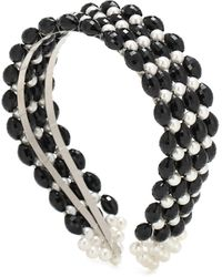 Shrimps Quinn Beaded And Faux Pearl Headband - Black