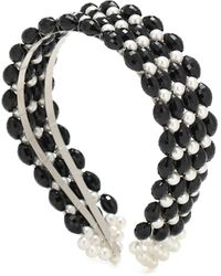 Shrimps Quinn Beaded And Faux Pearl Headband - Black