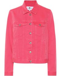 7 For All Mankind Modern Trucker Denim Jacket - Pink