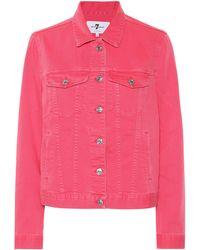 7 For All Mankind Modern Trucker Denim Jacket - Pink
