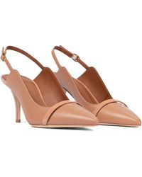 Malone Souliers Marion 70 Leather Slingback Pumps - Natural