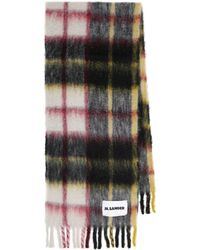 Jil Sander Checked Mohair And Wool-blend Scarf - Black