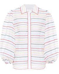 Zimmermann Zinnia Scallop Stripe Shirt - White