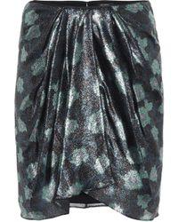 Isabel Marant Paris Printed Silk-blend Miniskirt - Green