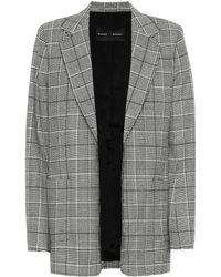 Proenza Schouler Novelty Checked Stretch-wool Blazer - Gray