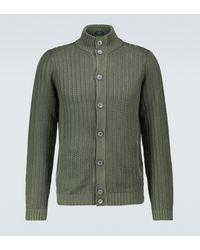 Zanone Cardigan aus Leinen und Baumwolle - Grün