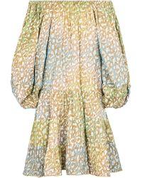 Juliet Dunn - Robe imprimée à encolure bardot en coton - Lyst