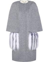 Fendi Wool And Fur Coat - Gray