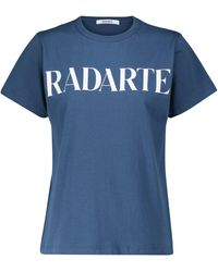 Rodarte T-shirt en coton à logo - Bleu