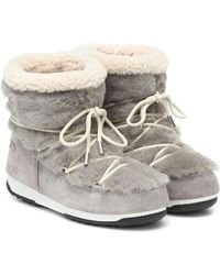Yves Salomon X Moon Boot Shearling Ankle Boots - Gray
