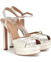 Aquazzura Evita 130 Leather Plateau Sandals - Metallic