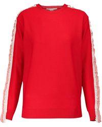 Stella McCartney Pullover Monogram aus Schurwolle - Rot