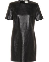 Saint Laurent Leather Minidress - Black