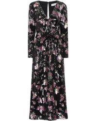 Self-Portrait Floral-pattern Sequinned Midi Dress - Black