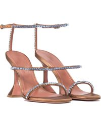 AMINA MUADDI Gilda Embellished Satin Sandals - Brown