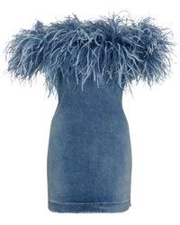 Saint Laurent Robe en denim à encolure bardot et plumes - Bleu