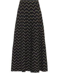 Alaïa Metallic Jacquard Knit Midi Skirt - Black