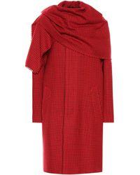 Balenciaga Virgin Wool Scarf Coat - Red