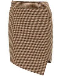 Balenciaga Houndstooth Wool-blend Miniskirt - Brown