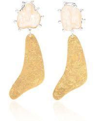 Peet Dullaert - Vergoldete Ohrringe Baran mit Perlen - Lyst