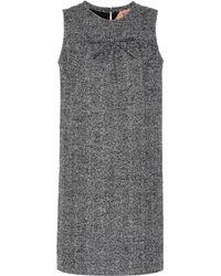 N°21 Robe droite en tweed à chevrons - Noir