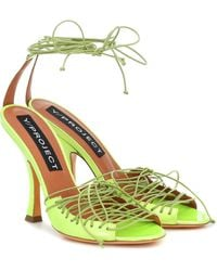 Y. Project Lace-up Leather Sandals - Yellow