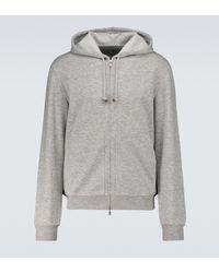 Brunello Cucinelli Jersey en cachemira y algodón con capucha - Gris