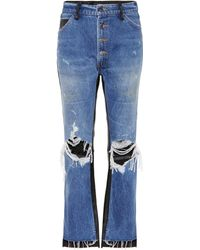 Amiri Leather-trimmed Cropped Jeans - Blue