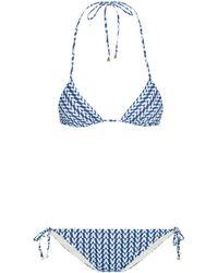 Valentino Exclusivo en Mytheresa - bikini triangular estampado - Azul