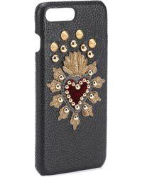 Dolce & Gabbana Leather Iphone 7 Plus Case - Black