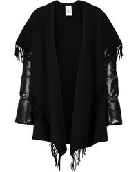 Moncler Poncho de plumas y lana - Negro