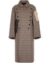 Maison Margiela Manteau en laine vierge à carreaux - Neutre