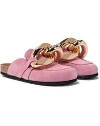 JW Anderson Embellished Suede Slippers - Pink