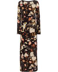 Etro Robe longue imprimée à fleurs - Noir