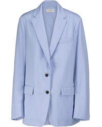 Dries Van Noten Blazer de popelín de algodón - Azul