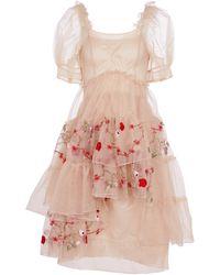 Simone Rocha Embroidered Tulle Midi Dress - Pink