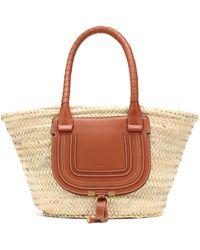 Chloé Marci Medium Raffia Basket Bag - Natural