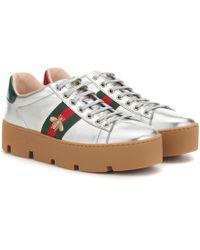 Gucci Sneakers Ace aus Metallic-Leder - Mehrfarbig