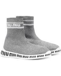 Miu Miu Knit Hi-top Trainers - Metallic