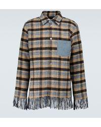 Acne Studios Fringed Wool Overshirt - Blue