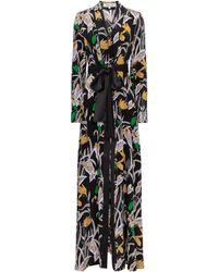 Diane von Furstenberg Bonnie Floral Silk Maxi Dress - Black