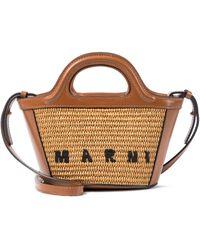 Marni Tote Tropical Summer Micro de rafia - Marrón