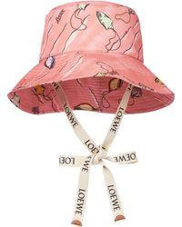 Loewe Paula's Ibiza Printed Canvas Bucket Hat - Pink